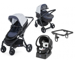 CHICCO URBAN  PLUS CROSSOVER - Wózek głęboko-spacerowy+ Fotelik 5w1 - Auto Fix Fast 0-13kg DENIM