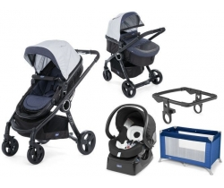 URBAN STROLLER PLUS CROSSOVER Chicco- Wózek głeboko-spacerowy+ Fotelik 4w1 - Auto Fix Fast 0-13kg - DENIM + KOJEC CHICCO!!!