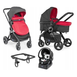 URBAN STROLLER PLUS CROSSOVER Chicco - Wózek głeboko-spacerowy+ Fotelik 4w1 - Auto Fix Fast 0-13kg - RED  PASSION