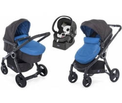 URBAN STROLLER PLUS CROSSOVER Chicco - Wózek głeboko-spacerowy+ Fotelik 4w1 - Auto Fix Fast 0-13kg - POWER BLUE