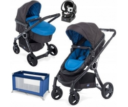 URBAN STROLLER PLUS CROSSOVER Chicco - Wózek głeboko-spacerowy+ Fotelik 4w1 - Auto Fix Fast 0-13kg - POWER BLUE+KOJEC GRATIS!!!